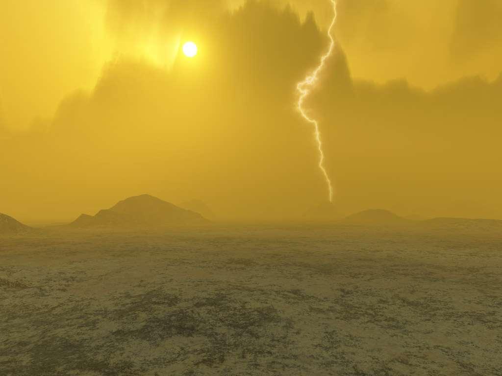 Image d'artiste de la vision qu'on pourrait avoir à la surface de Vénus. © DR