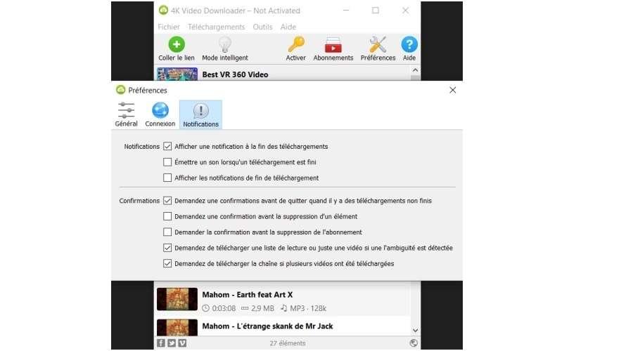 Menu des préférences, onglet «Notifications» © 4K Video Downloader