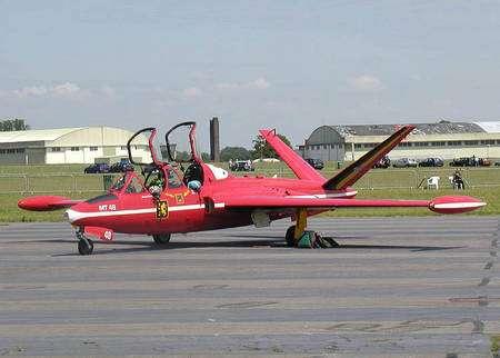 Fouga Magister de l'armée belge (patrouille acrobatique des Diables rouges). © Creative Commons