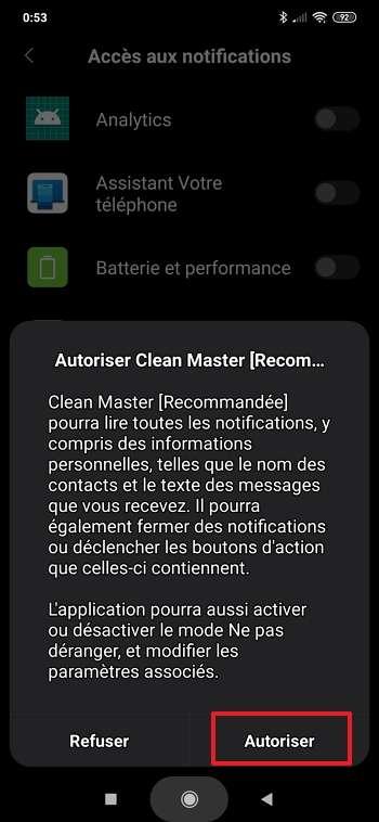 Autorisez Clean Master à accéder à vos notifications. © Cheetah Mobile