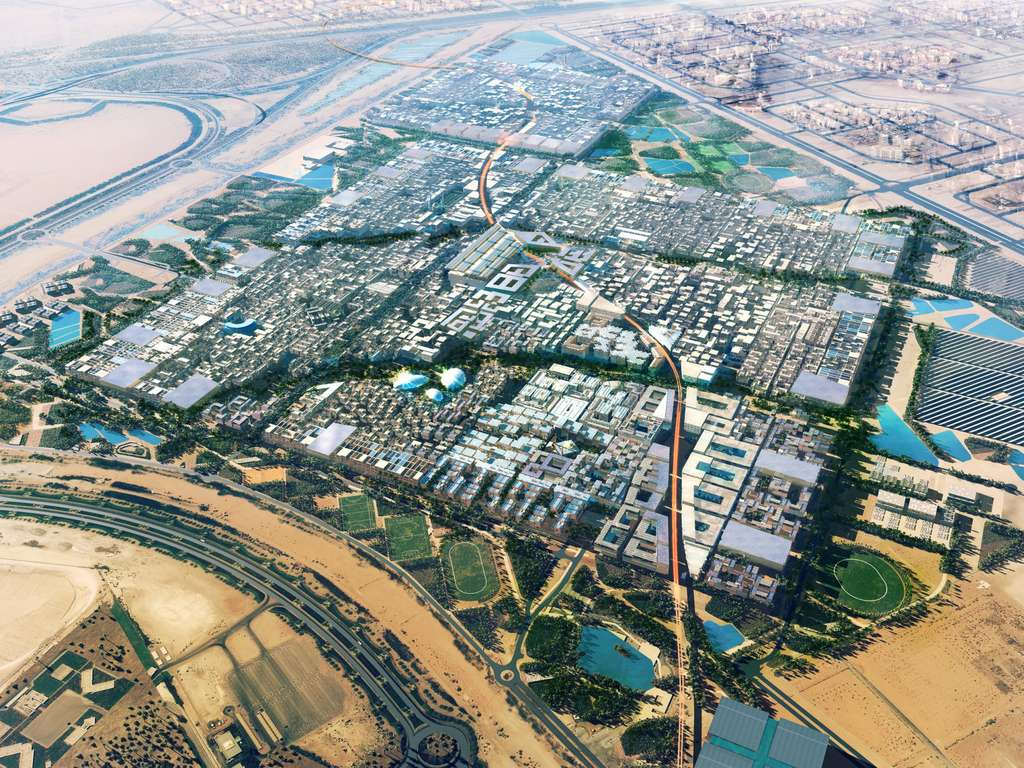 Lorsqu'elle sera terminée, la ville de Masdar City (ici en image de synthèse), à Abou Dhabi, dans les Émirats arabes unis, pourra accueillir 40.000 habitants sur 5 km2. De gros efforts ont été réalisés pour minimiser la consommation d'énergie et les émissions de polluants. © Masdar City