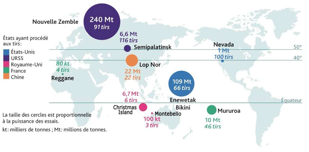 Localisation des essais nucléaires atmosphériques entre 1945 et 1980. © IRSN