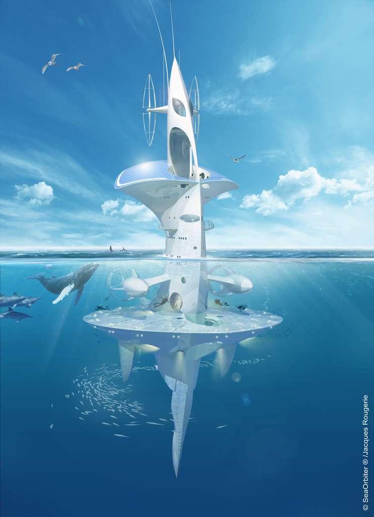 Le Sea Orbiter est un projet de plateforme océanographique dérivante. Il pourrait largement améliorer nos connaissances sur l'océan en permettant à des équipes d'océanographes de séjourner longtemps en mer. Ce projet de Jacques Rougerie, en cours de réalisation, témoigne de la haute technologie à mettre en œuvre pour explorer efficacement l'océan mondial. Peu de pays peuvent se lancer dans des programmes de ce genre. © Sea Orbiter
