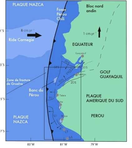 La plaque Nazca est l'une de celles qui composent le fond de l'océan Pacifique. Comme ses voisines bordant le continent américain, elle bouge vers l'est par rapport aux terres émergées. Résultat : la terre tremble et les montagnes s'élèvent. Crédit : Bourgois et al. JGR 2007.