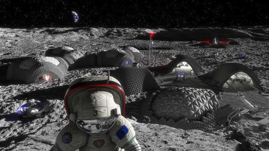 Autre concept de base lunaire proposé par OHB. L'idée est d'utiliser le régolithe lunaire et la technique de la fabrication additive (3D) pour construire les habitats et les infrastructures en dur d'une base. © RegoLight, visualisation: Liquifer Systems Group, 2018