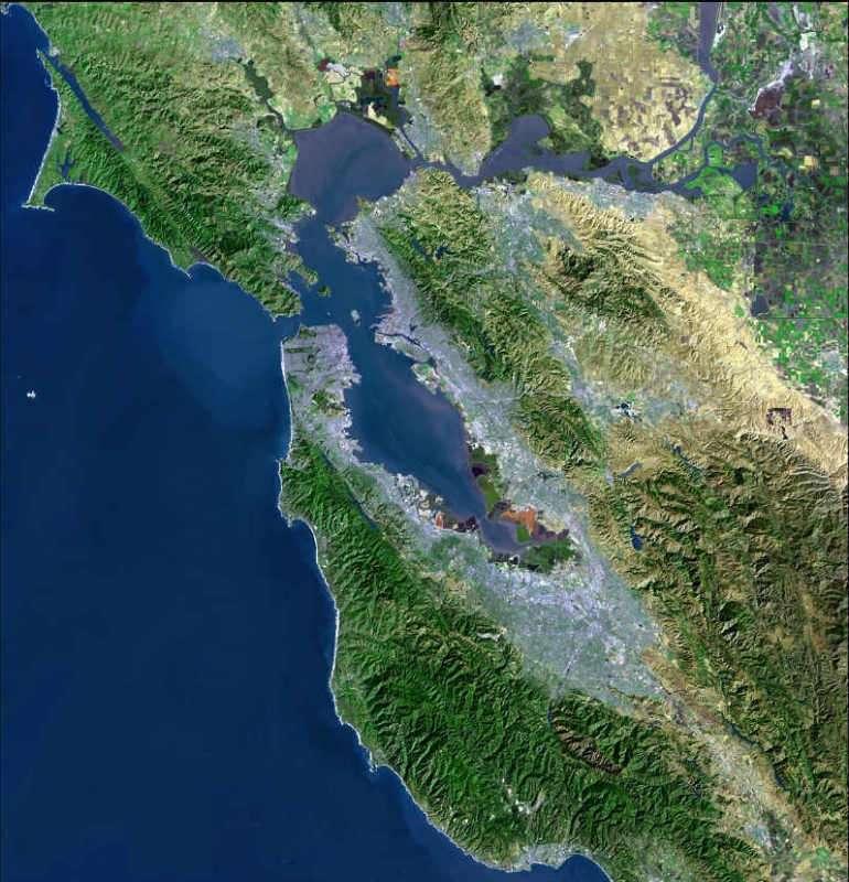Vue satellite de la baie de San Francisco. © USGS - Domaine public