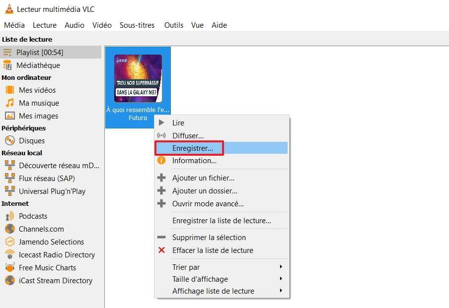 Sélectionnez l'option « Enregistrer » après avoir effectué un clic droit sur la vignette de la vidéo. © VideoLAN