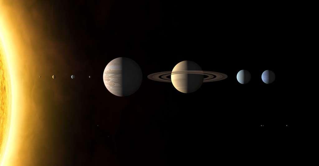 Montage des images des huit planètes du Système solaire enregistrées par différents engins spatiaux. De haut en bas : Mercure, Vénus, la Terre (avec la Lune), Mars, Jupiter, Saturne, Uranus et Neptune. © Martin Kornmesser, CC BY-SA 3.0