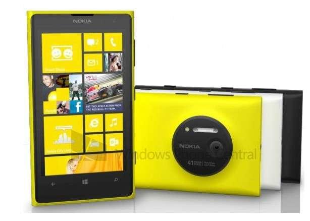 Cette photo, qui a tout l'air d'une image officielle, révèle que le Lumia 1020 sera disponible en trois couleurs. © Windows Phone Central