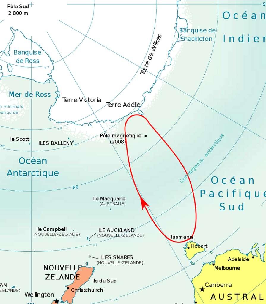 Carte du trajet de Dumont d'Urville depuis la Tasmanie (Hobart) jusqu'en Terre Adélie en 1840. Auteur : Bourrichon, 2008. © Wikimedia Commons, domaine public.