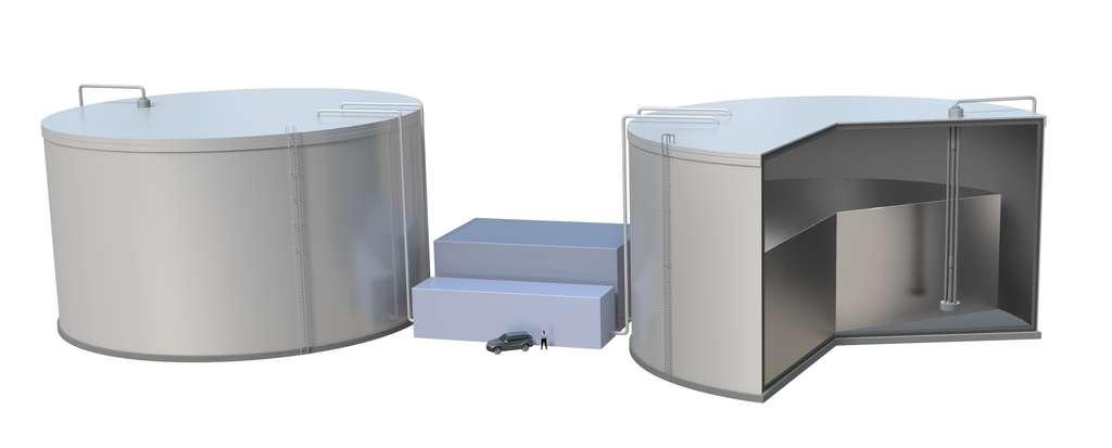 En fonction des besoins, le silicium fondu passe du réservoir « froid » vers le réservoir chaud ou vice-versa. On peut se rendre compte de l'échelle grâce à la voiture en bas de l'image. © Duncan MacGruer