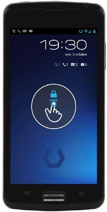 Le smartphone Hoox m2 a été conçu sur la base du système d'exploitation Android auquel ont été ajoutées des couches de sécurité logicielles et matérielles, avec notamment un lecteur d'empreintes digitales et une puce de chiffrement. © Bull