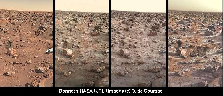 Quatre images prises par Viking 2 pendant une année martienne.