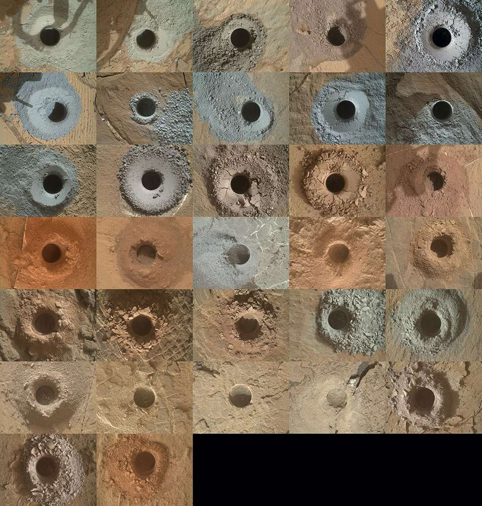 Grâce à la perceuse montée sur son bras robotique, le rover Curiosity a déjà prélevé 32 échantillons de roches martiennes. © Nasa, JPL-Caltech, MSSS