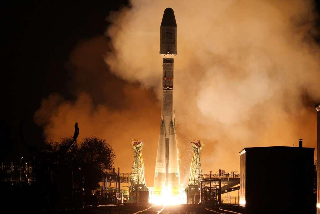 Lancement du satellite Metop-B par un Soyouz de Starsem le 17 septembre 2012, depuis le cosmodrome de Baïkonour. © Eumetsat