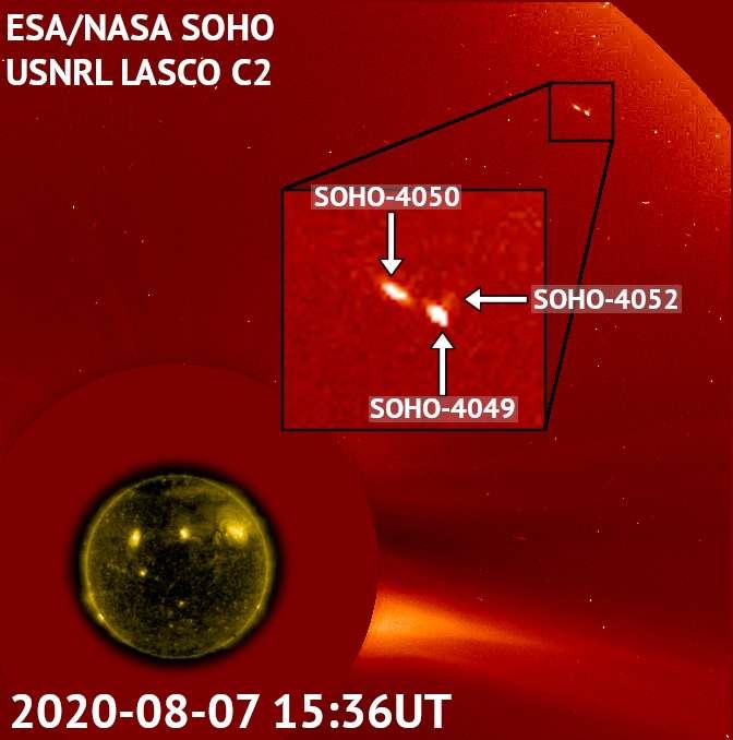 Détails des trois comètes : deux gros morceaux et un troisième beaucoup plus petit. En bas, à gauche, le Soleil masqué par le disque noir, le coronographe Lasco C2, a été ajouté au centre. © ESA, Nasa, Soho, Karl Battams