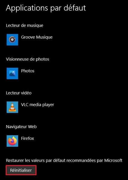 Réinitialisez les applications par défaut aux valeurs recommandées par Microsoft. © Microsoft