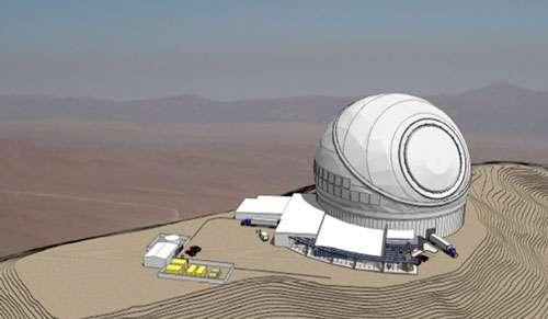 Figure 11. Une autre représentation du TMT. On notera la coupole de type calotte, similaire à celle qui équipe le télescope Bernard Lyot à l'Observatoire du Pic du Midi ! © TMT