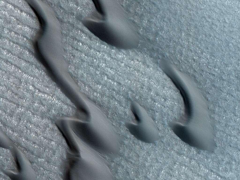 Le vent est à l'origine de ces dunes de sable et de glace (des barkhanes) qui se déplacent en moyenne d'un mètre par an à proximité de la calotte polaire martienne. © Nasa/JPL/University of Arizona