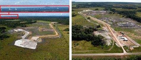 Au fond de l'image à gauche, on devine les infrastructures au sol dédiées à Ariane 5 (ELA-3) avec les grands bâtiments que sont le Bâtiment d'Intégration des Propulseurs, le Bâtiment d'Intégration des Lanceurs et le Bâtiment d'Assemblage Final.
