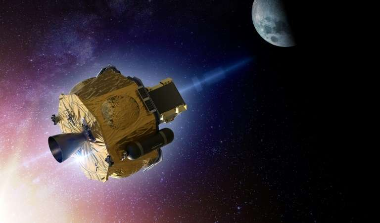 Illustration artistique diffusée le 24 septembre 2020 par Rocket Lab montrant le petit satellite Photon développé pour une mission vers la Lune de la Nasa en 2021. © Handout, Rocket Lab, AFP
