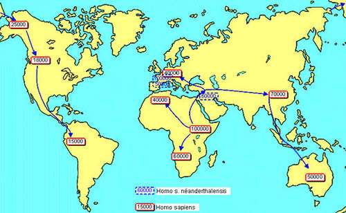 Carte concernant Néandertal et Cro Magnon