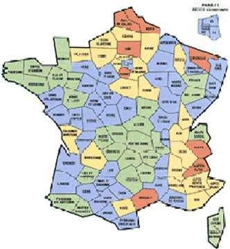 Dureté de l'eau en France. Vert : faible 35 °f.