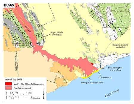 Figure 3. Un autre zoom sur les coulées de 2008 du Kilauea. En rouge et rose, les coulées actuelles. © USGS