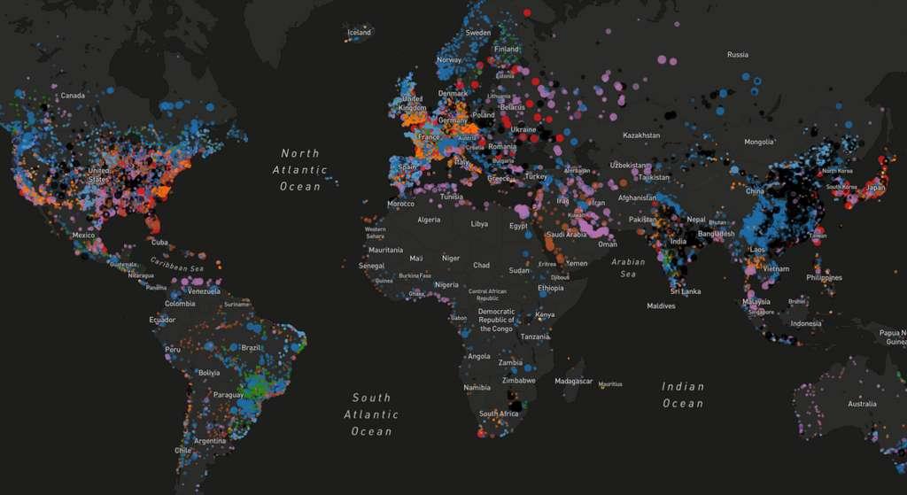 Le WRI a créé une carte qui recense toutes les centrales électriques par type de production (charbon, gaz, éolien, nucléaire…) © WRI