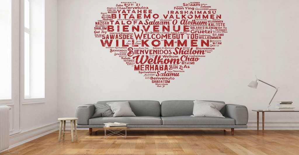 Sticker cœur « Bienvenue », réalisé en vinyle adhésif. © Robert Kneschke, Shutterstock