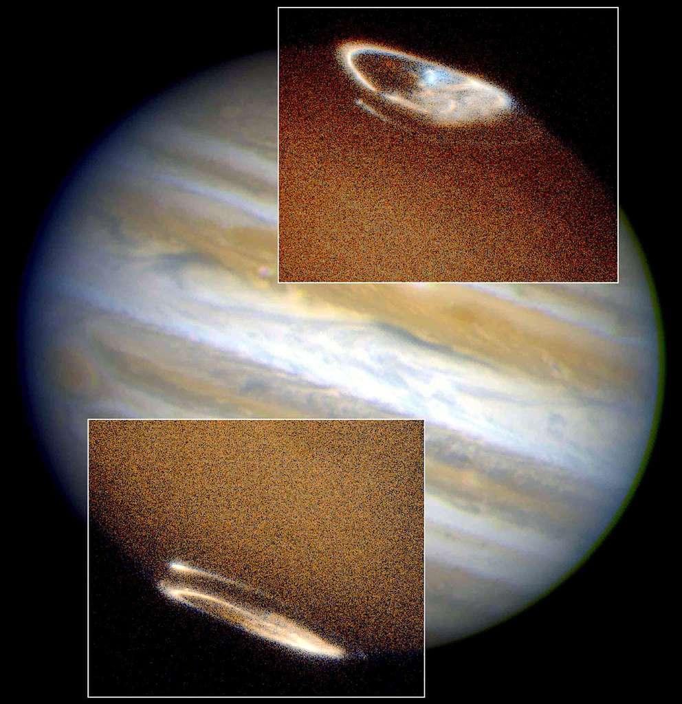 Ces images d'aurores sur Jupiter (vues en ultraviolet), superposées à une photo en lumière visible de l'ensemble de la planète, ont été prises par Hubble. Ces aurores sont liées aux interactions entre Jupiter et le vent solaire, mais aussi à l'interaction de son champ magnétique avec sa lune Io, entourée d'une ionosphère conductrice d'électricité. © Nasa