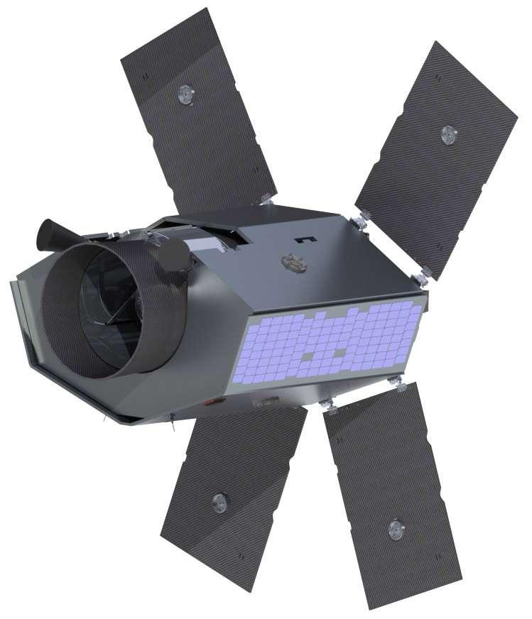 Vue d'artiste du satellite d'astronomie Twinkle, dont le coût est estimé à environ 65 millions d'euros, lancement compris. © SSLT