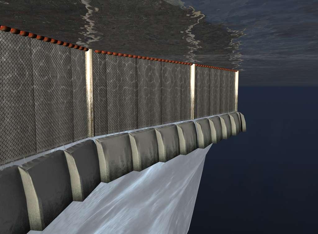 Vue sous-marine de la jupe entourant l'iceberg au niveau de la surface de l'eau, juste après son installation. Elle est supportée par des flotteurs (en rouge) et porte des sortes de sacs contenant de longs rideaux pliés. © Dassault Systèmes