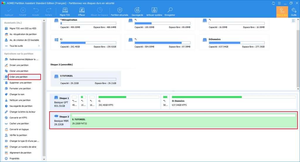 Sélection du disque à partitionner et clic sur l'option «Créer une partition». © AOMEI