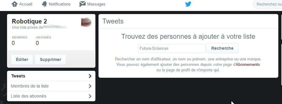 Vous pouvez organiser vos listes à partir des abonnements existant ou bien en tapant un mot-clé dans le moteur de recherche de Twitter. © Futura-Sciences