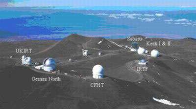 Fig. 2 : L'observatoire du Mauna Kea : les 7 télescopes du projet OHANA. © Richard Wainscoat..