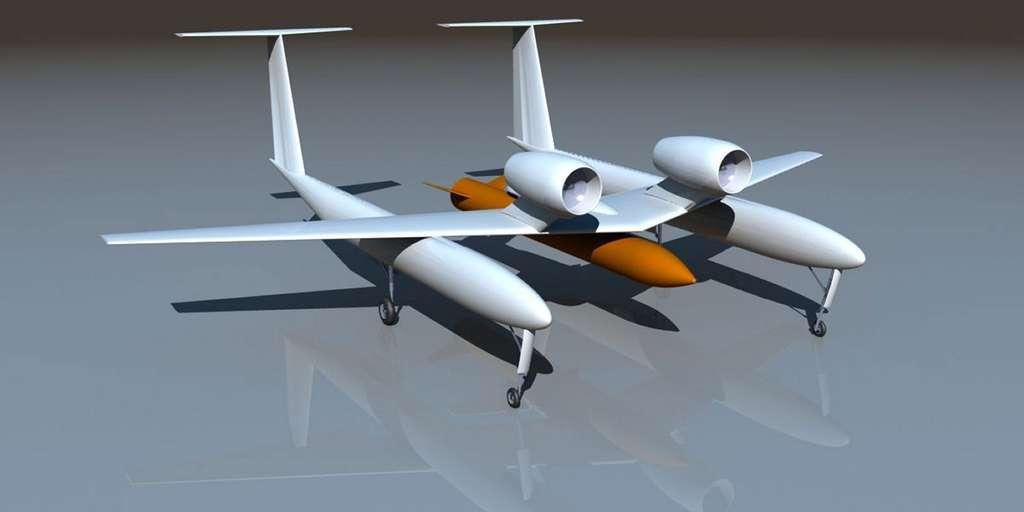 Un exemple d'architecture possible pour l'avion du projet Altair, de l'Onera, destiné à lancer des satellites de faibles masses et de petites dimensions. On remarque la structure bipoutre, les deux réacteurs dorsaux, l'absence de cabine de pilotage et la charge utile, un lanceur secondaire (non réutilisable) qui porte le satellite. L'aspect final de cet engin – s'il est réalisé un jour – sera peut-être différent. © Onera