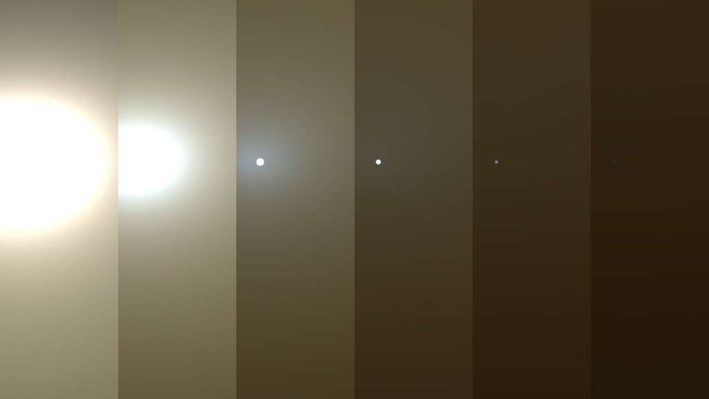 Simulation du ciel de ces derniers jours au-dessus d'Opportunity. Le Soleil a progressivement disparu derrière d'épais nuages de poussière. © Nasa, JPL-Caltech, TAMU