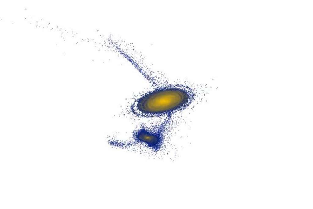 Un extrait d'une simulation numérique montrant la rencontre entre Antlia 2 et la Voie lactée. © Sukanya Chakrabarti/RIT
