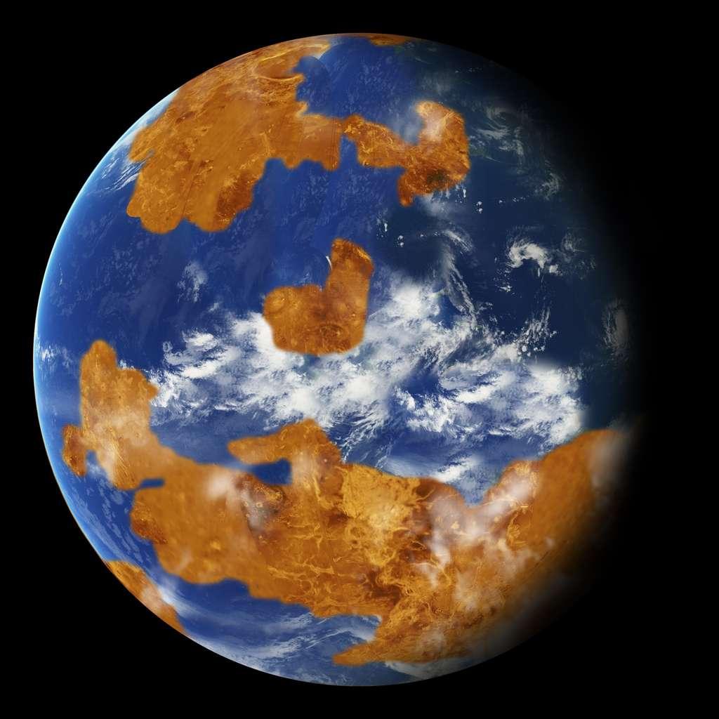 Une vue d'artiste de Vénus il y a quelques milliards d'années dans le cadre des modèles climatiques étudiés par des chercheurs du GISS (Goddard Institute for Space Studies). © Nasa