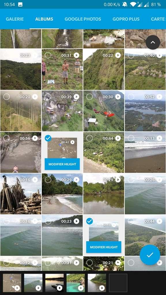 Sélection des éléments dans l'application Quik. © GoPro, Inc.