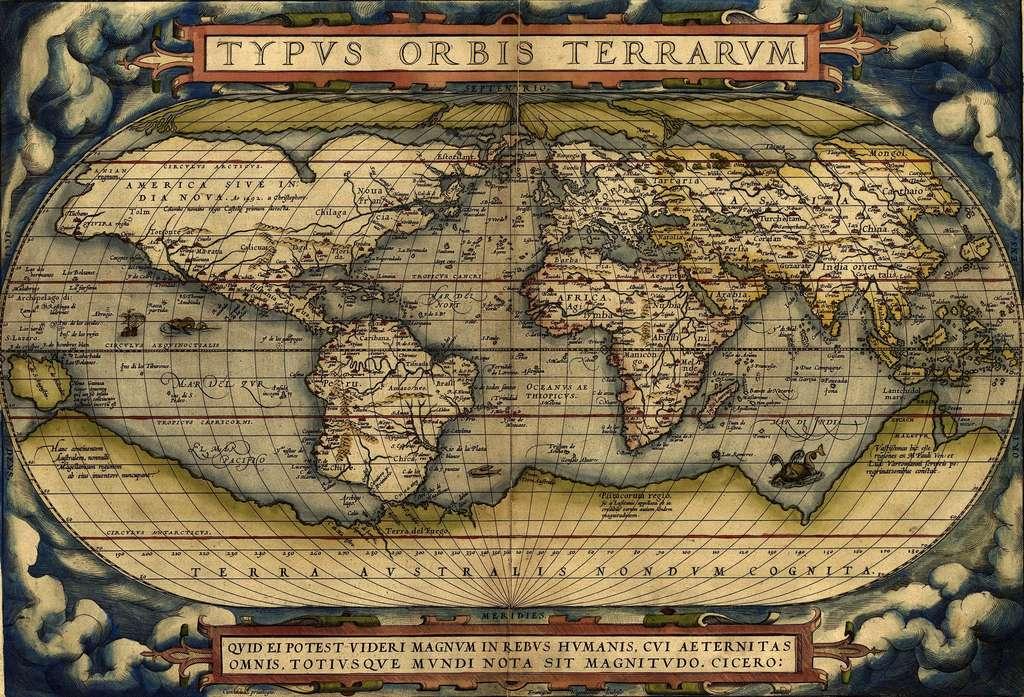 Mappemonde d'Ortelius datée de 1570 : on visualise l'énorme masse continentale supposée de la «Terra Australis» (Antarctique et Australie réunis). © Wikimedia Commons, domaine public.