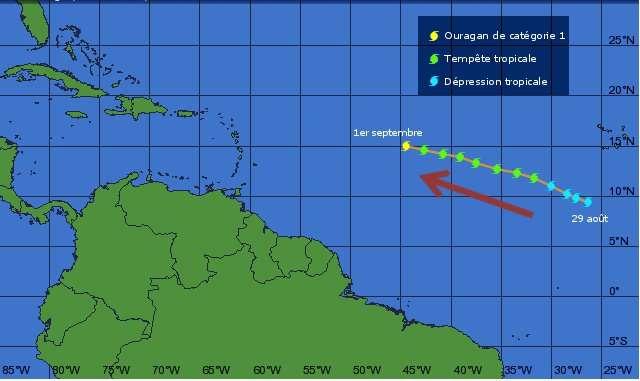 L'ouragan Katia, qui vient de passer en catégorie 1, se dirige vers les Caraïbes. © Weather Underground - Adaptation Futura-Sciences