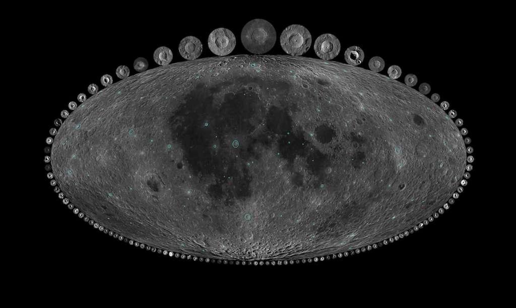 Carte de la Lune où les cratères étudiés par les chercheurs sont encerclés en bleu. Tout autour de la figurent des images des différents cratères à l'échelle par rapport au cratère Copernic, de 93 km de diamètre et âgé de 800 Ma, représenté au sommet de la carte. © Nasa, GSFC, LRO, USGS, Image par Alex Parker