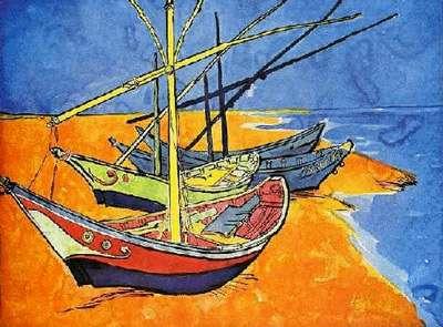 Barques de Van Gogh, des bleus et des jaunes… © DR