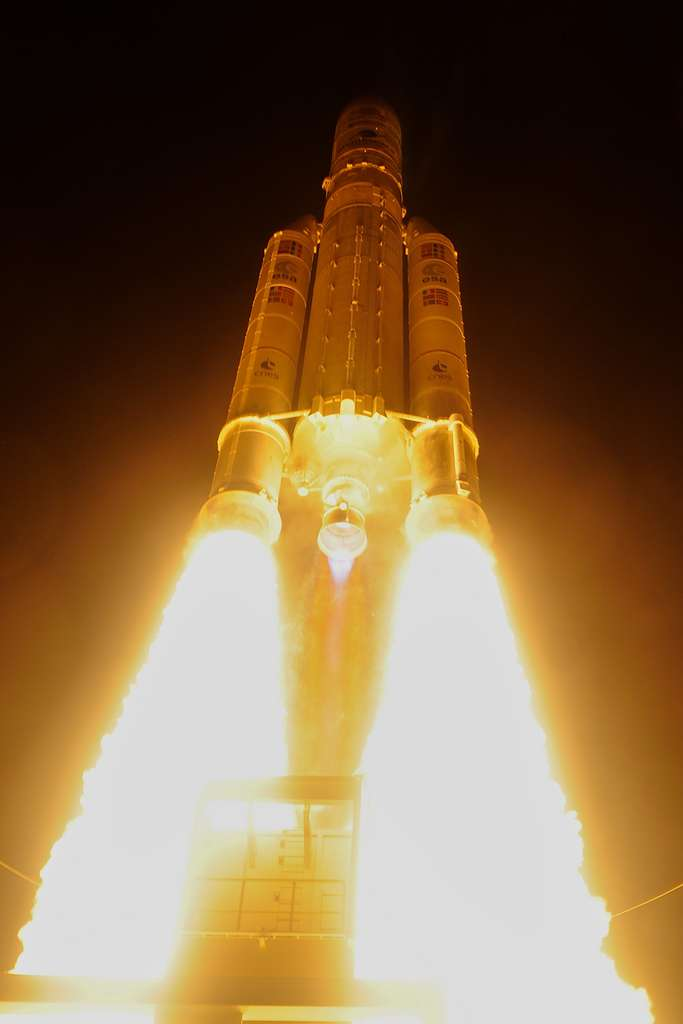 Décollage d'une Ariane 5 avec à son bord le satellite BepiColombo à destination de Mercure. © ESA, S. Corvaja