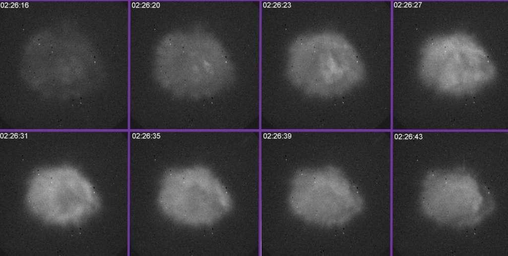 Des images dans le visible d'un nuage de plasma artificiel créé à l'aide d'un faisceau de hautes fréquences avec Haarp au-dessus de l'Alaska. Cela s'est passé le 12 novembre 2012, entre 2 h 26 mn 16 s et 2 h 26 mn 43 s TU. © Elizabeth Kendall, SRI International