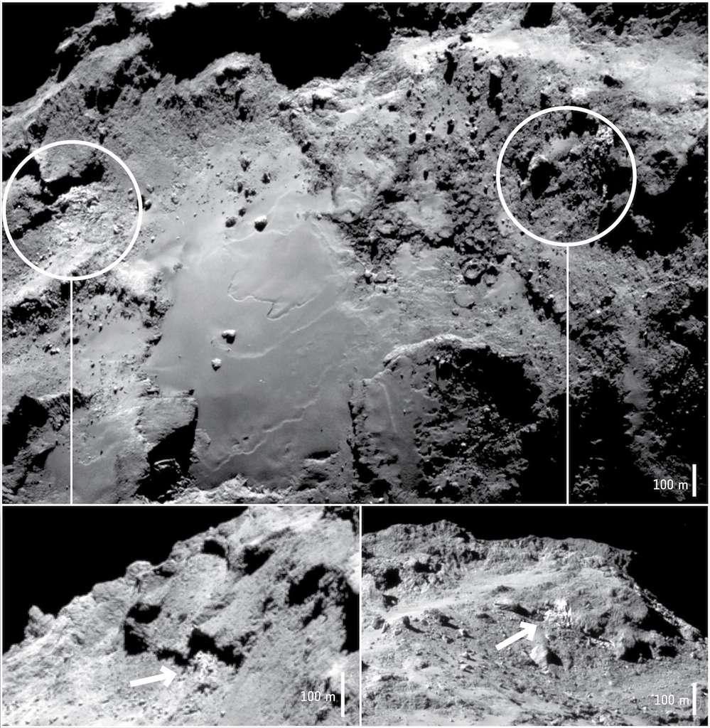Au-dessus : la région d'Imhotep, sur le plus grand des deux lobes du noyau de Tchouri. En dessous à gauche et à droite : détails des reliefs où de l'eau gelée a été observée avec Virtis. Les plaques de glaces sont bien identifiables sur ces images prises dans le visible avec la Navcam de Rosetta les 17 (la plus grande), 20 (en bas à gauche) et 15 septembre 2014 (en bas à droite) entre 28 et 30 km de distance. © Esa, Rosettan, NavCam–CC BY–SA IGO 3.0