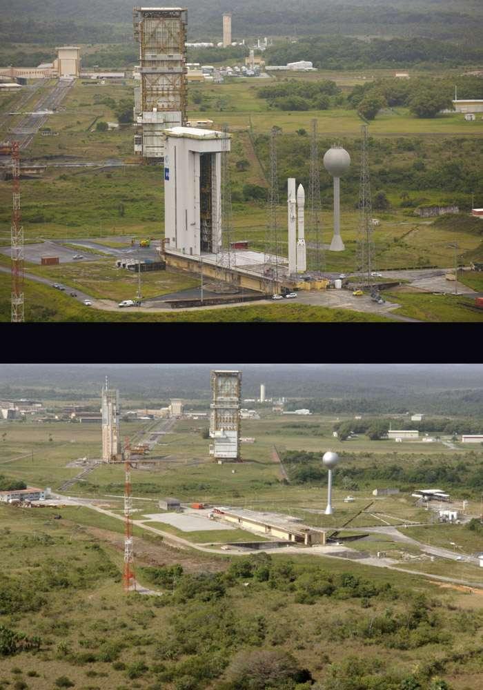 Ce montage permet de se faire une idée des modifications qui ont été apportées à Ela-1 pour devenir l'Ensemble de lancement de Vega. Le portique d'Ela-2 – la plus grande structure sur les deux images – a été détruit le 26 septembre 2011. © Esa/Cnes & Service optique du CSG