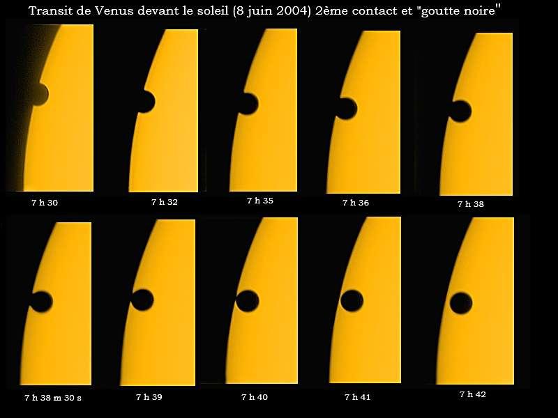 Phénomène de la goutte noire photographié au cours du transit de Vénus du 8 juin 2004. © V. Perroud